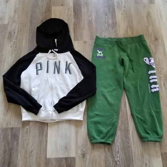 ded40e67a541 PINK Victoria's Secret Tops | Pink Hoodie Jacket Sweat Pants Lot M ...